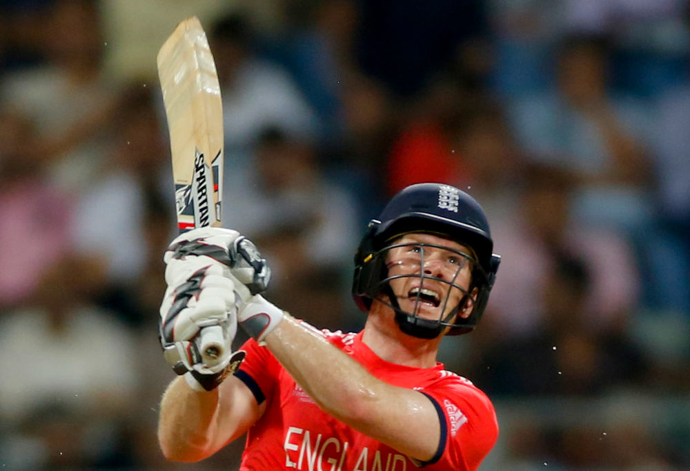 England captain Eoin Morgan bats