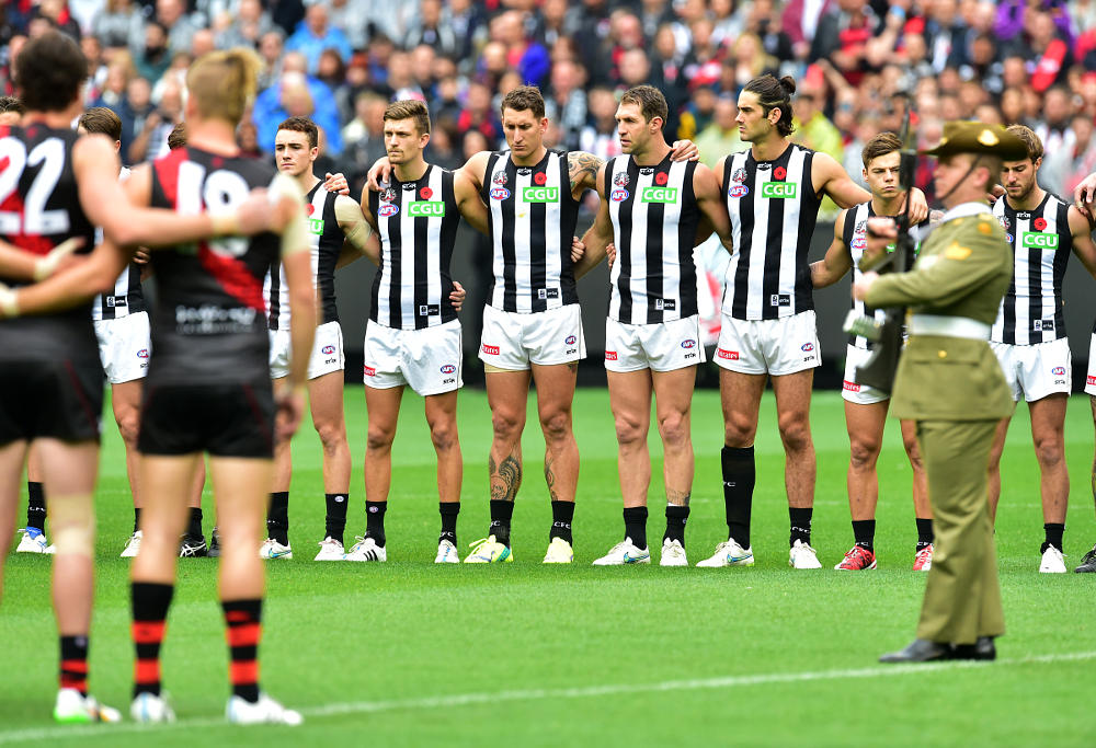 Essendon Bombers Collingwood Magpies Anzac Day AFL 2015