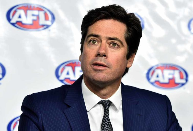 Gillon McLachlan fronts the media