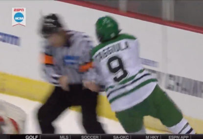 WATCH: Referee absolutely lays out player with a huge hit