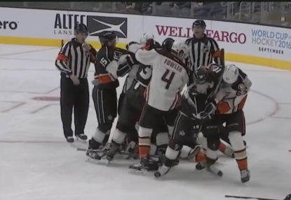 WATCH: NHL game descends into madness with all-in brawl