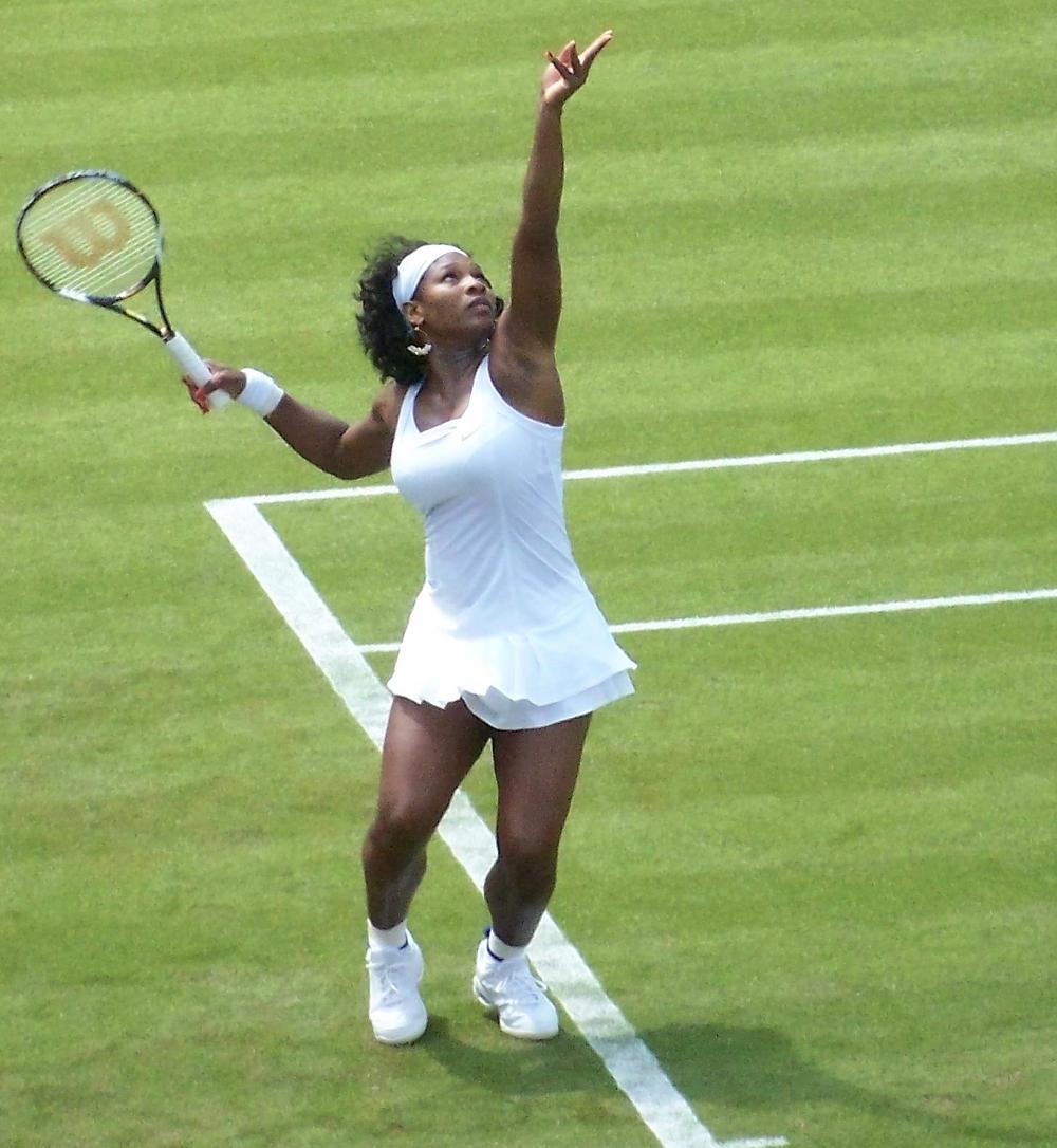 Serena Williams serving