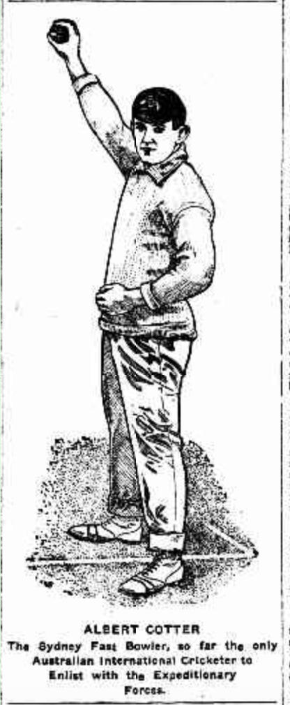 Illustration of Tibby bowling - credit: Referee (Sydney, NSW : 1886 - 1939) 12 May 1915)