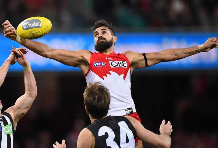 Lewis Jetta flies high for the ball