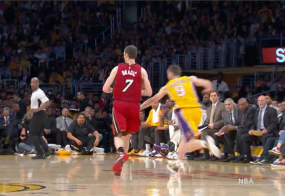 WATCH: Lakers player hides behind opposition coach for the sneakiest steal of all time