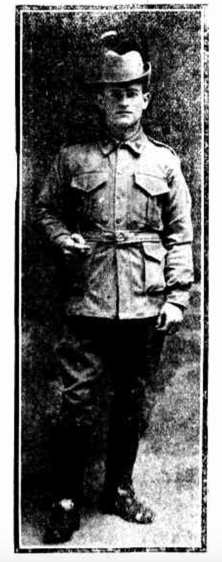Newspaper photo of Tibby in uniform - credit: Referee (Sydney, NSW : 1886 - 1939) 29 September 1915