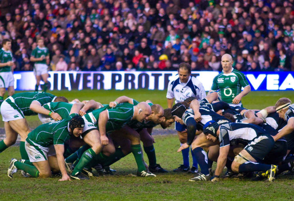 Ireland and Scotland pack down a rugby union scrum