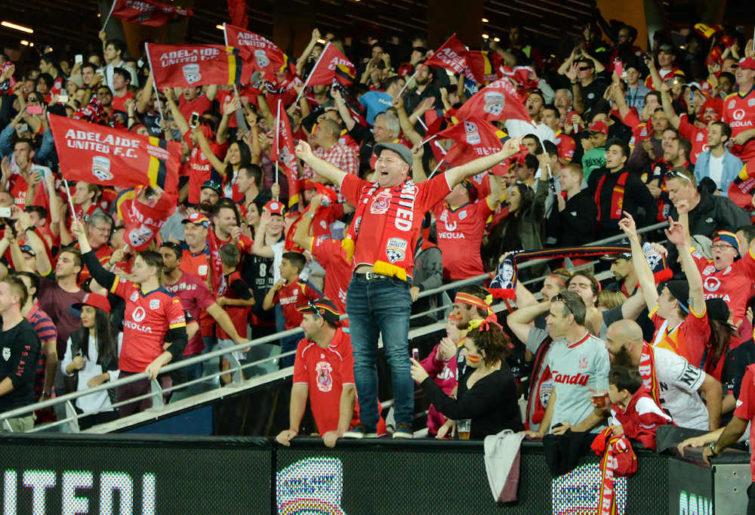 Adelaide United fans celebrate