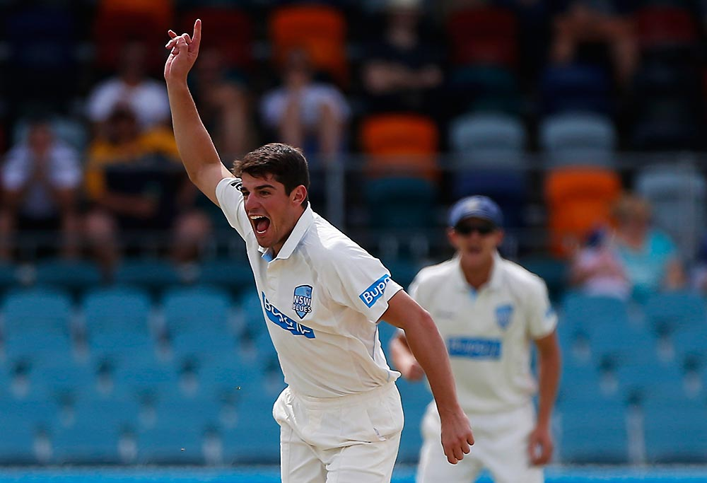 Blues Moises Henriques celebrates after taking a wicket