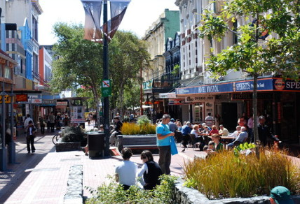 Cuba st in Wellington - the home of the restaurants