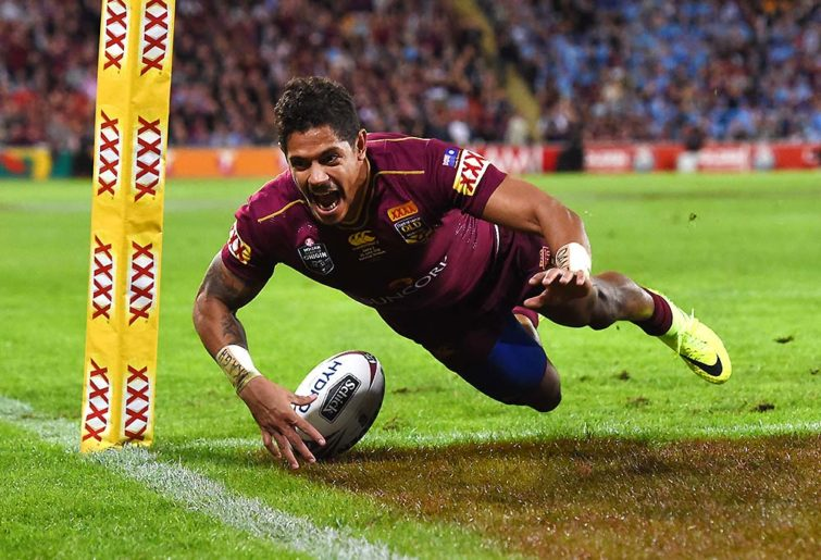 Dane Gagai of the Queensland Maroons scores a try