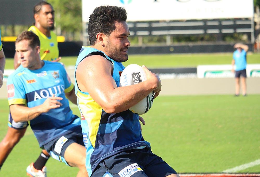 Gold Coast Titans player Konrad Hurrell at training