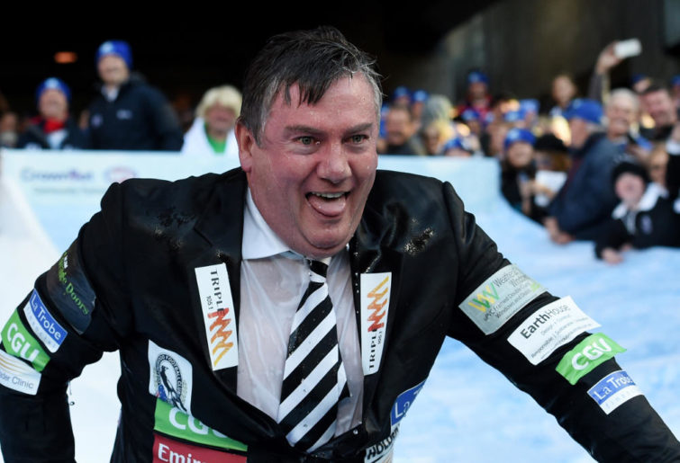 Collingwood president Eddie McGuire takes part in the Big Freeze Ice Slide challenge