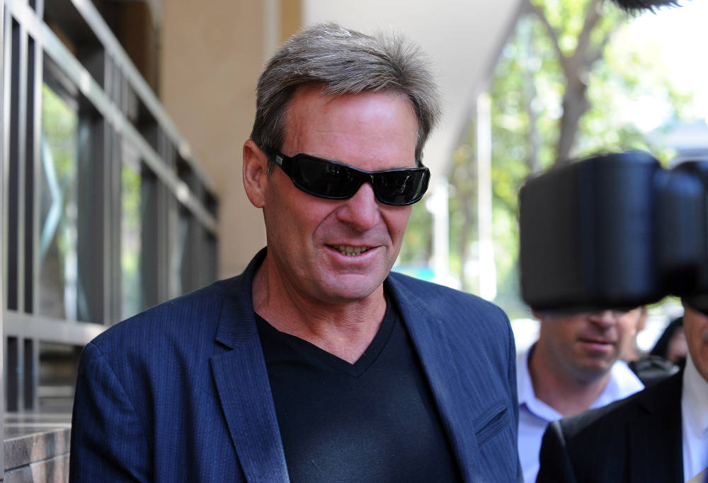 Television personality Sam Newman leaves the Melbourne Magistrate's courts