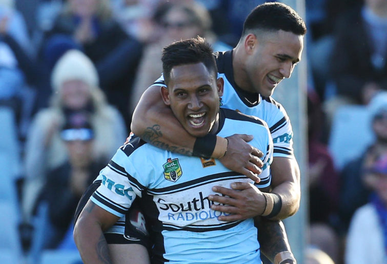 Ben Barba Valentine Holmes Cronulla Sharks NRL Rugby League 2016 tall