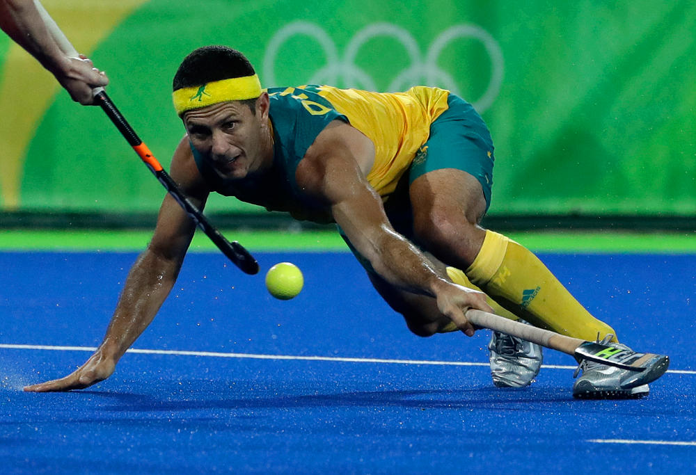 Jamie Dwyer in action for the Australian Kookaburras at the Rio 2016 Olympics