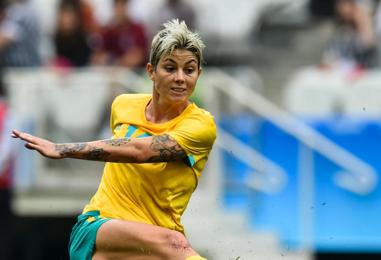 Michelle Heyman in action for the Australian Matildas during the Rio 2016 Olympics