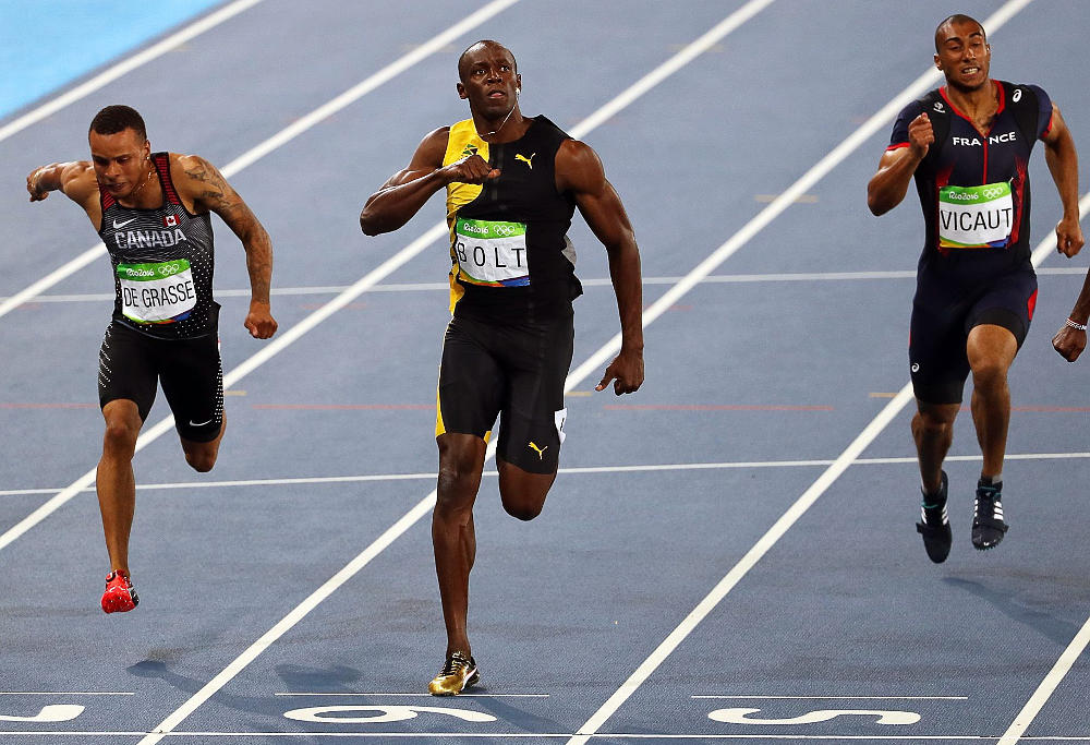 Looking at the 100m, we're probably not all that far from it now. Bolt's 9.58s world record (that's 44.8k per hour or 10.44m per second – from a standing ...