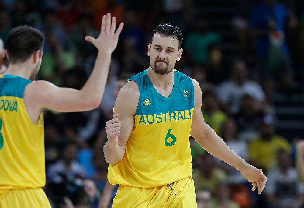 Australia Boomer Andrew Bogut celebrates with Matthew Dellavedova