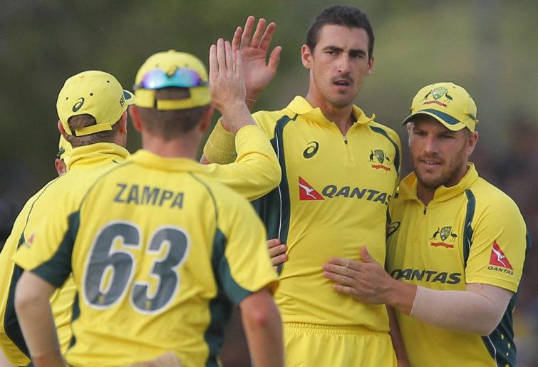 Starc celebrates a wicket