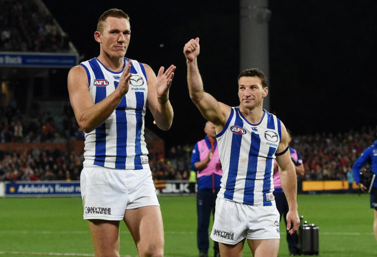 Drew Petrie Brent Boomer Harvey North Melbourne Kangaroos AFL Finals 2016