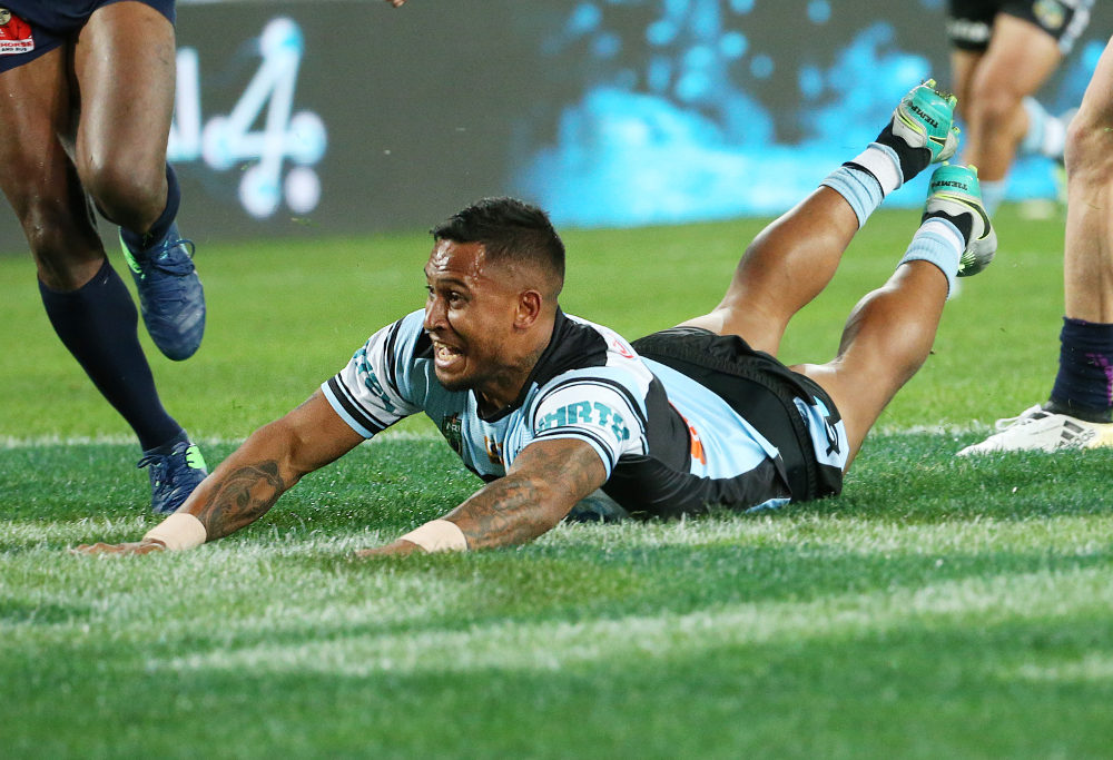 Ben Barba crossed for the first try of the 2016 NRL Grand Final (AAP Image/David Moir)