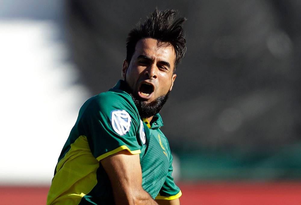 South Africa's bowler Imran Tahir celebrates
