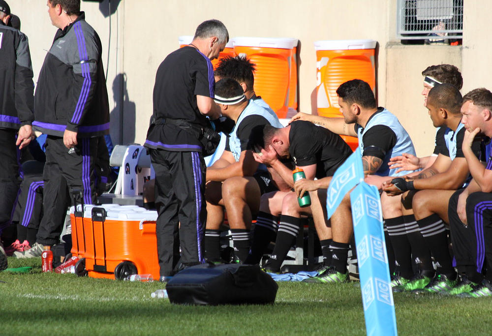 The All Blacks' bench reacts to their loss to Ireland. Image: Carlos Stalgis