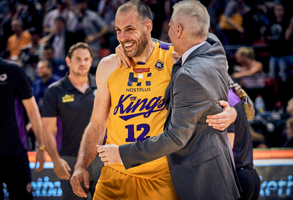 Sydney Kings National Basketball League (NBL) coach and Australian Olympic basketballer Andrew Gaze (right) celebrating with player Aleks Maric
