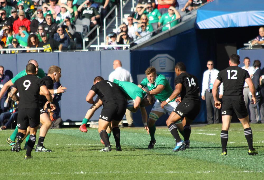 Joe Moody makes a lifting tackle. Image: Carlos Stalgis