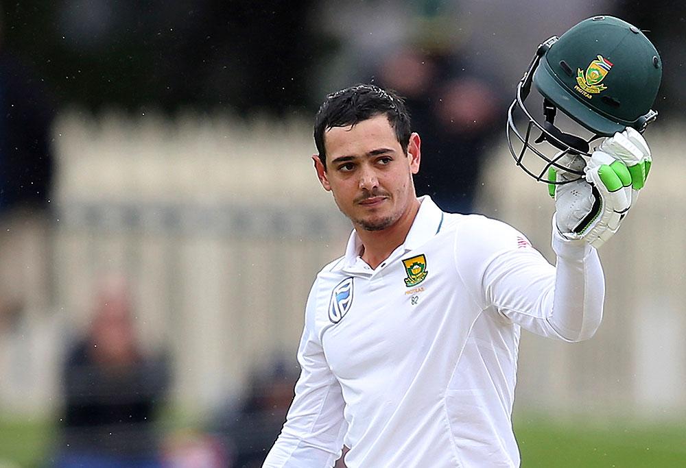 South Africa's Quinton de Kock celebrates making 100 runs
