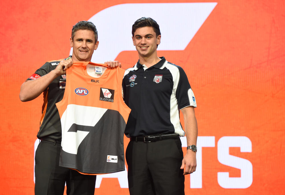 Tim Taranto with Leon Cameron at the 2016 AFL Draft.