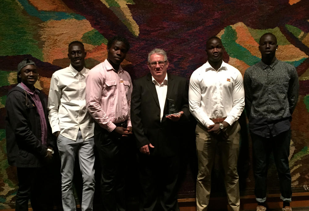 Steve Warwick and Africa United players