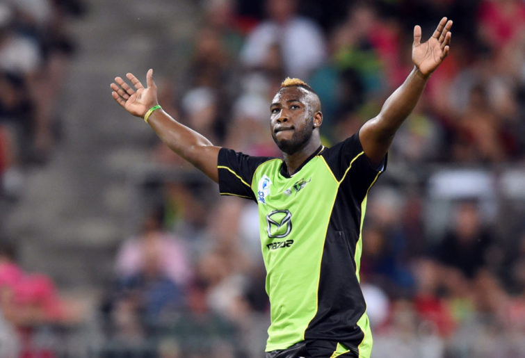 Andre Russell celebrates a wicket for the Sydney Thunder