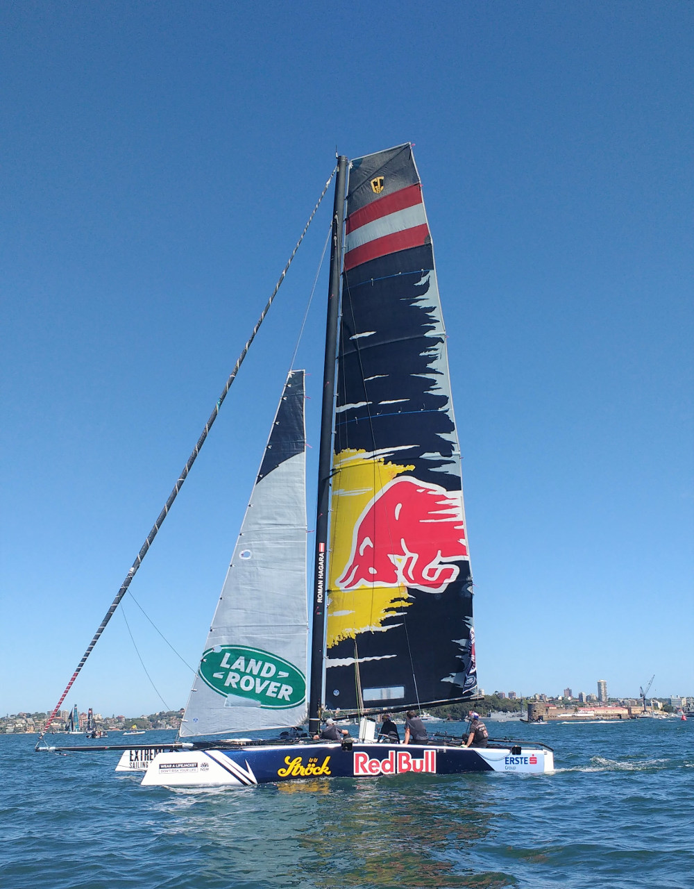 The Red Bull Sailing Team fighting for the Extreme Sailing Series win in the last leg at Sydney harbour