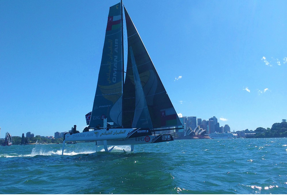 The Oman Air Extreme Sailing Series team in full flight during the final round in Sydney.