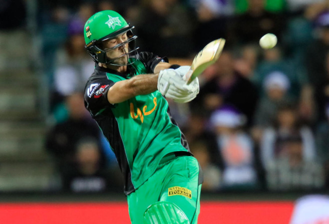 Glenn Maxwell of the Melbourne Stars plays a shot