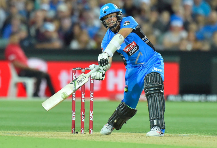 Adelaide Strikers captain Brad Hodge tries to get his team over the line in the Big Bash