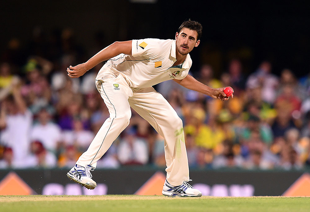 Australian bowler Mitchell Starc with the pink ball