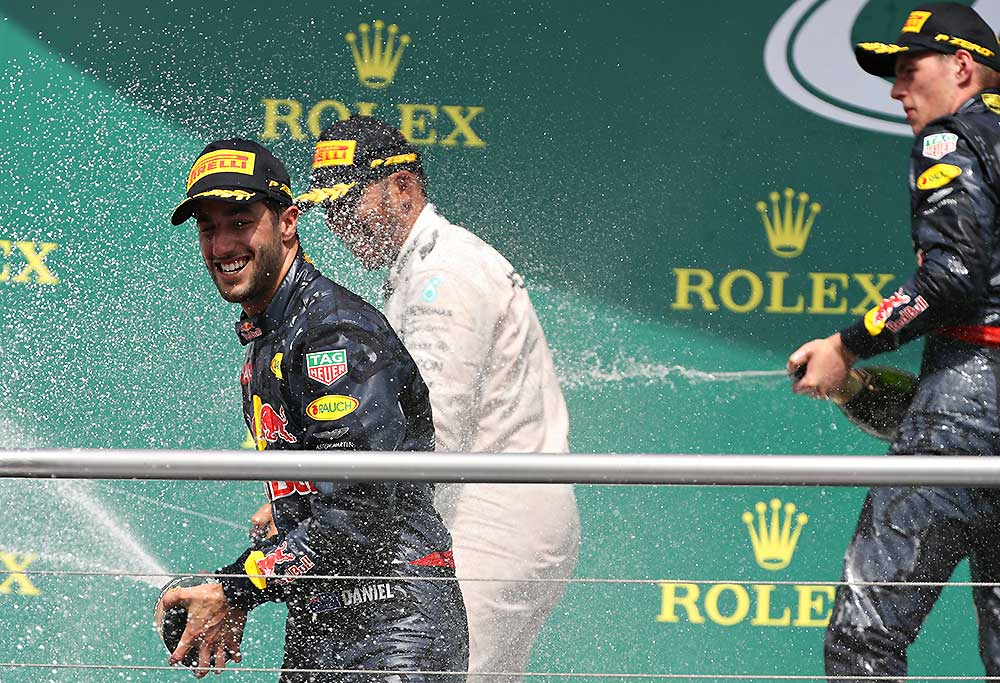 Daniel Ricciardo of Australia and Red Bull Racing, Lewis Hamilton of Great Britain and Mercedes GP and Max Verstappen