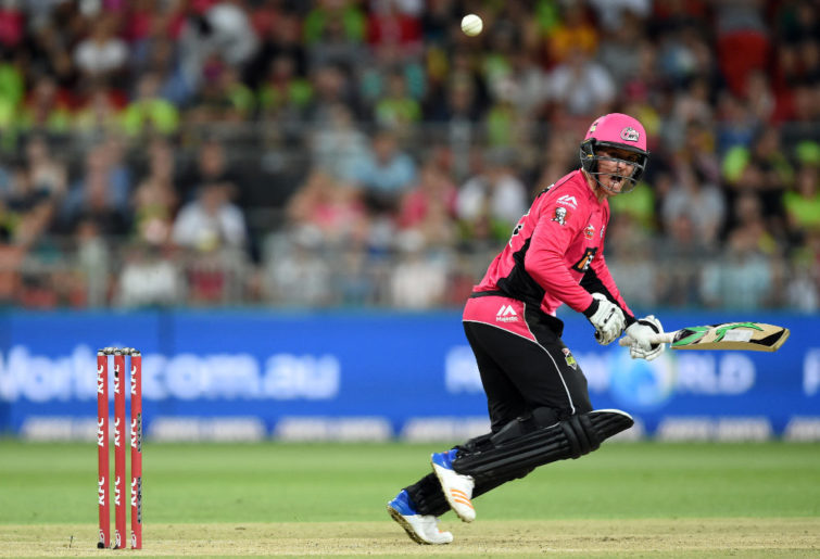 Jason Roy cuts the ball for the Sydney Sixers in the Big Bash