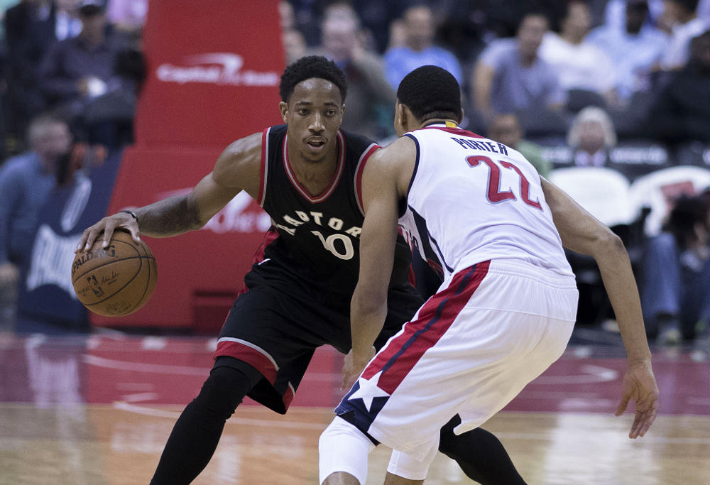 DeMar DeRozan of the Toronto Raptors during a game against the Washington Wizards on November 2, 2016 at Verizon Center in Washington, DC.