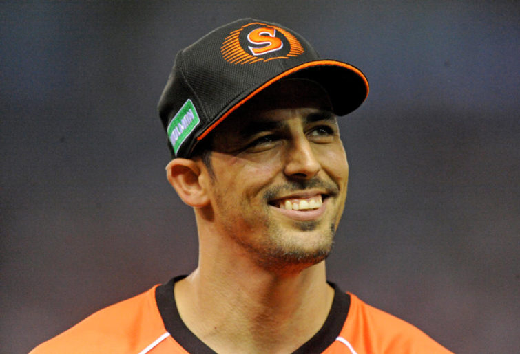 Mitchell Johnson of the Perth Scorchers smiles