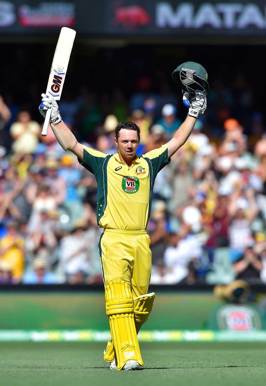 Travis Head of Australia celebrates after scoring a century