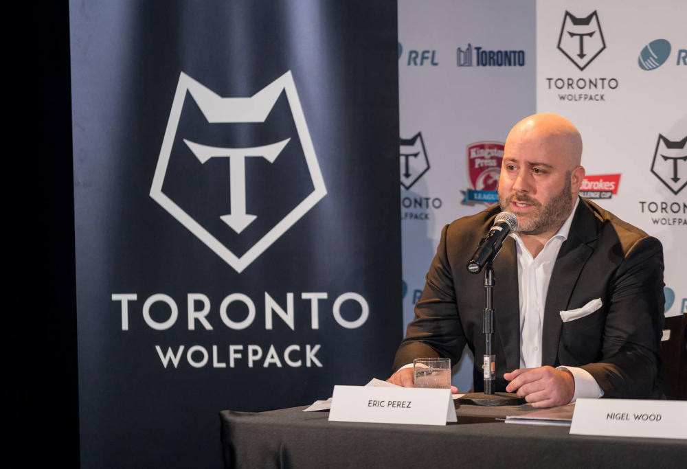 Toronto Wolfpack CEO Eric Perez fronts the press.