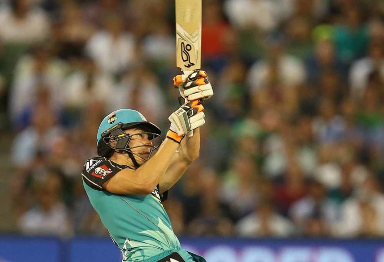 Sam Heazlett gets a shot away in the Big Bash