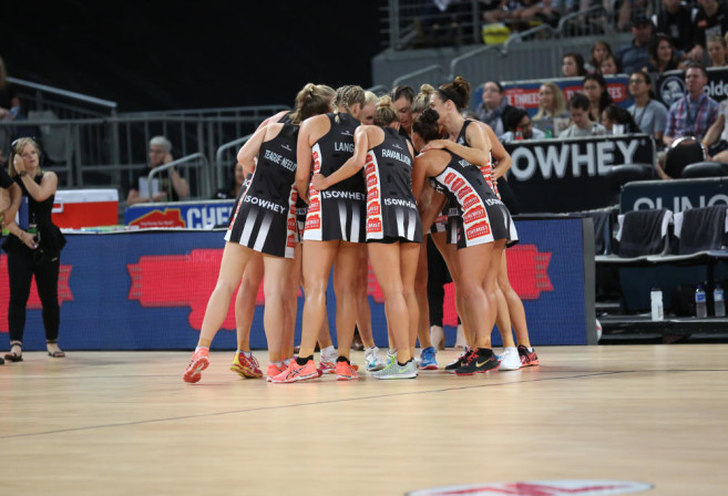 The Collingwood Magpies prepare for their battle against the Adelaide Thunderbirds in the Australian Netball League.