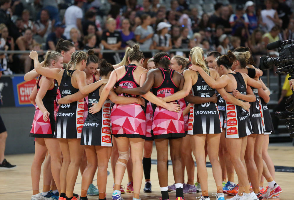 The Collingwood Magpies and Adelaide Thunderbirds come together after their clash in the Australian Netball League