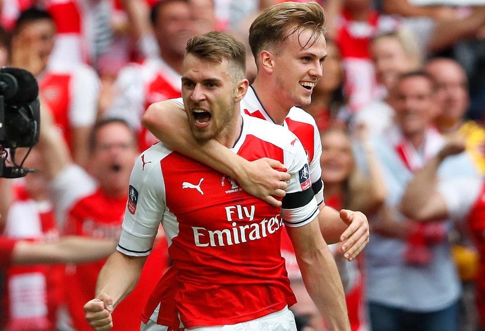 Aaron Ramsay celebrates FA cup final goal