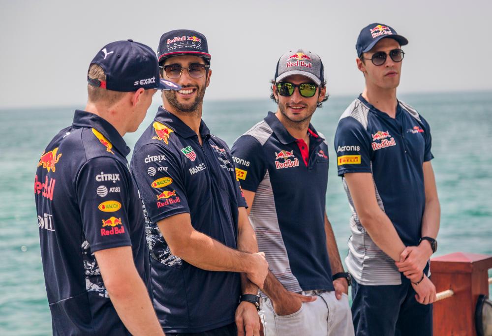 Formula One drivers Max Verstappen, Daniel Ricciardo, Carlos Sainz and Daniil Kyvat.